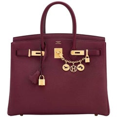 Hermes Bordeaux 35cm Togo Gold Hardware D Stamp Birkin Bag