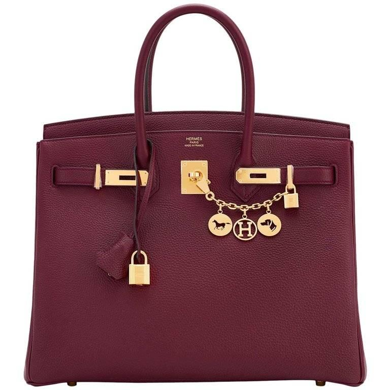 Hermes Bordeaux 35cm Togo Gold Hardware A Stamp Birkin Bag