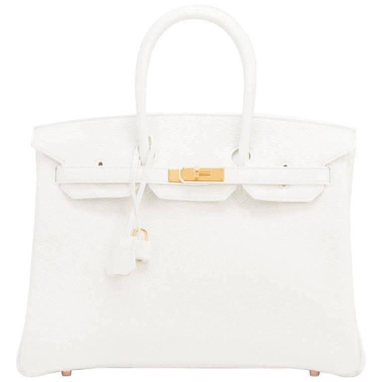 Hermes White 35cm Clemence Birkin Bag Gold Hardware X Stamp For Sale
