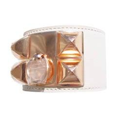 HERMES Craie CDC Rose Gold RGHW Collier de Chien Leather Cuff Bracelet DIVINE!
