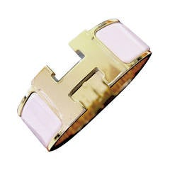 Hermes Rose Dragee Pink Clic Clac Gold Hardware GHW PM Wide Spring!