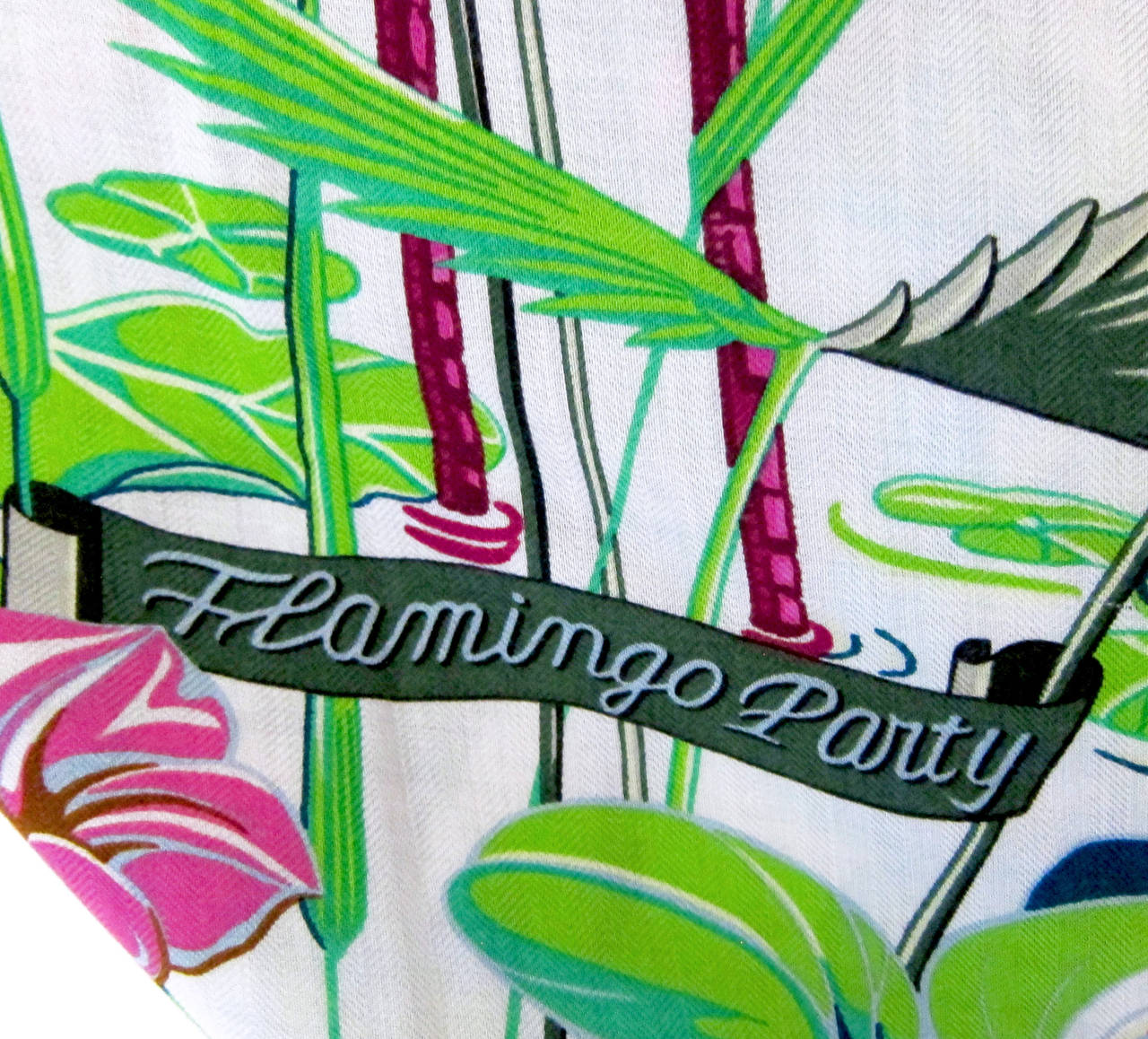 b599fb7c5c2 Hermes Flamingo Party Cashmere Shawl Silk GM Scarf Summer! at 1stdibs