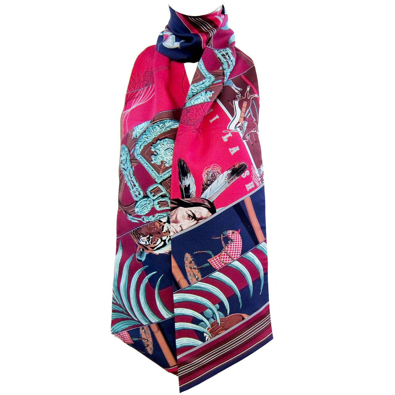 hermes carre en carres maxi twilly silk scarf at 1stdibs