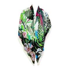 Hermes Flamingo Party Cashmere Silk GM Shawl Scarf 140cm
