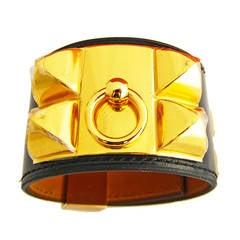 Editor's Fave Hermes Black Box Leather Collier de Chien CDC Bracelet Gold