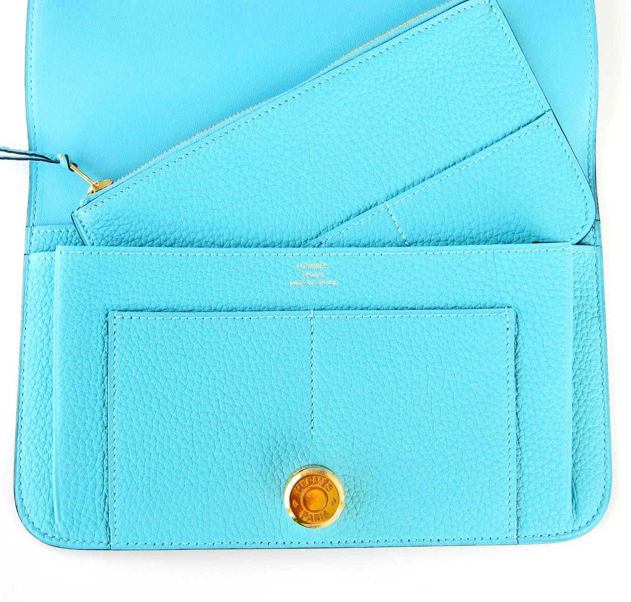 chinese replica handbags - Hermes Blue Atoll Gold Hardware Togo Dogon Duo Leather Wallet ...