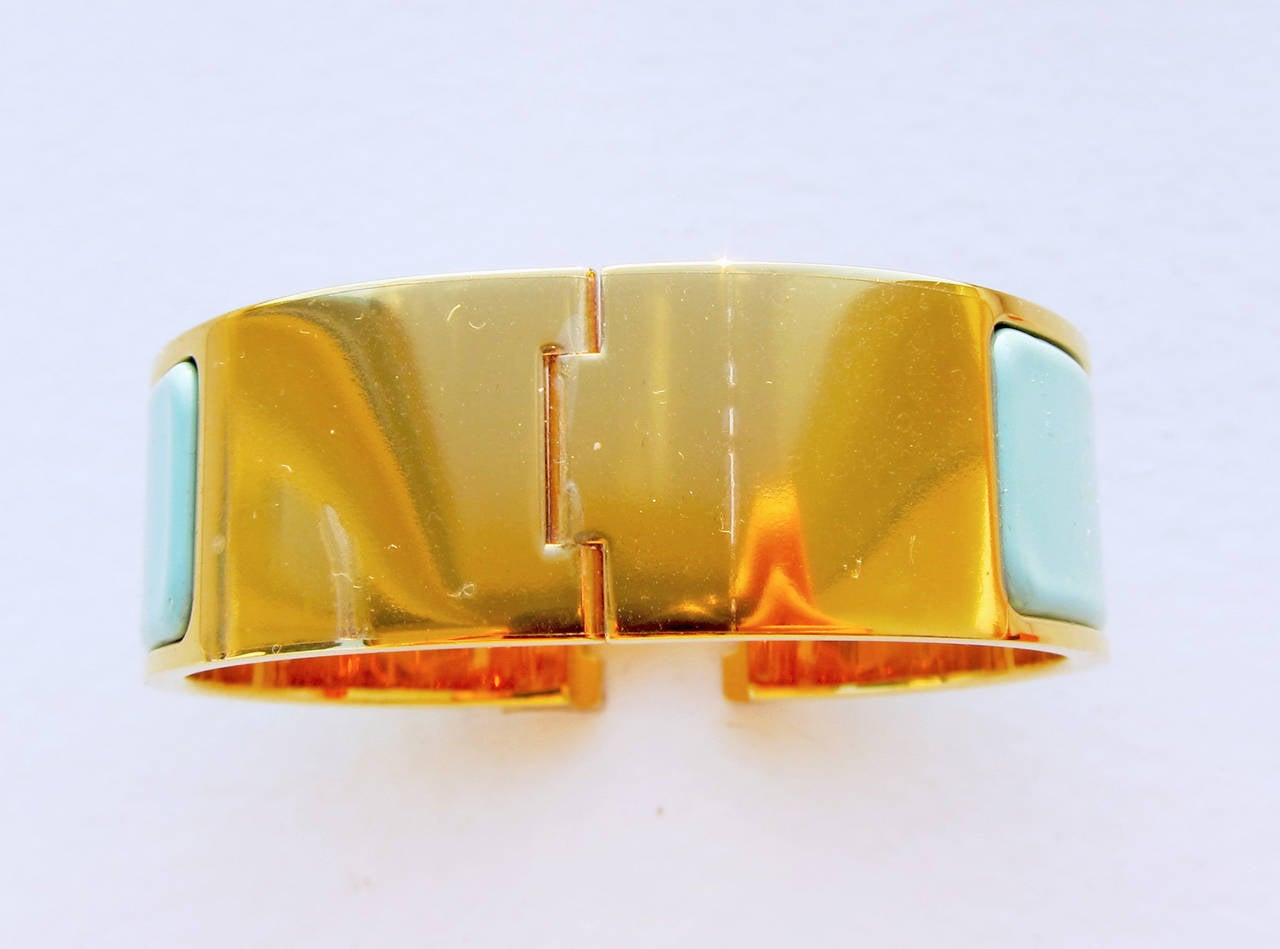 hermes lagoon clic clac gold hardware ghw enamel bracelet pm wide at 1stdibs