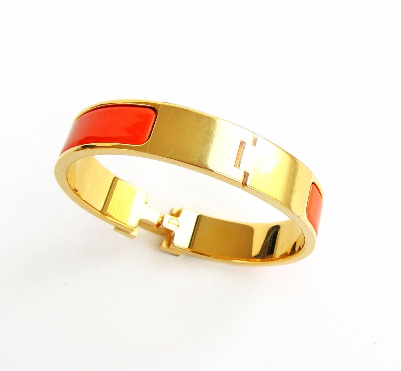 hermes orange fruit clic h gold hardware ghw enamel