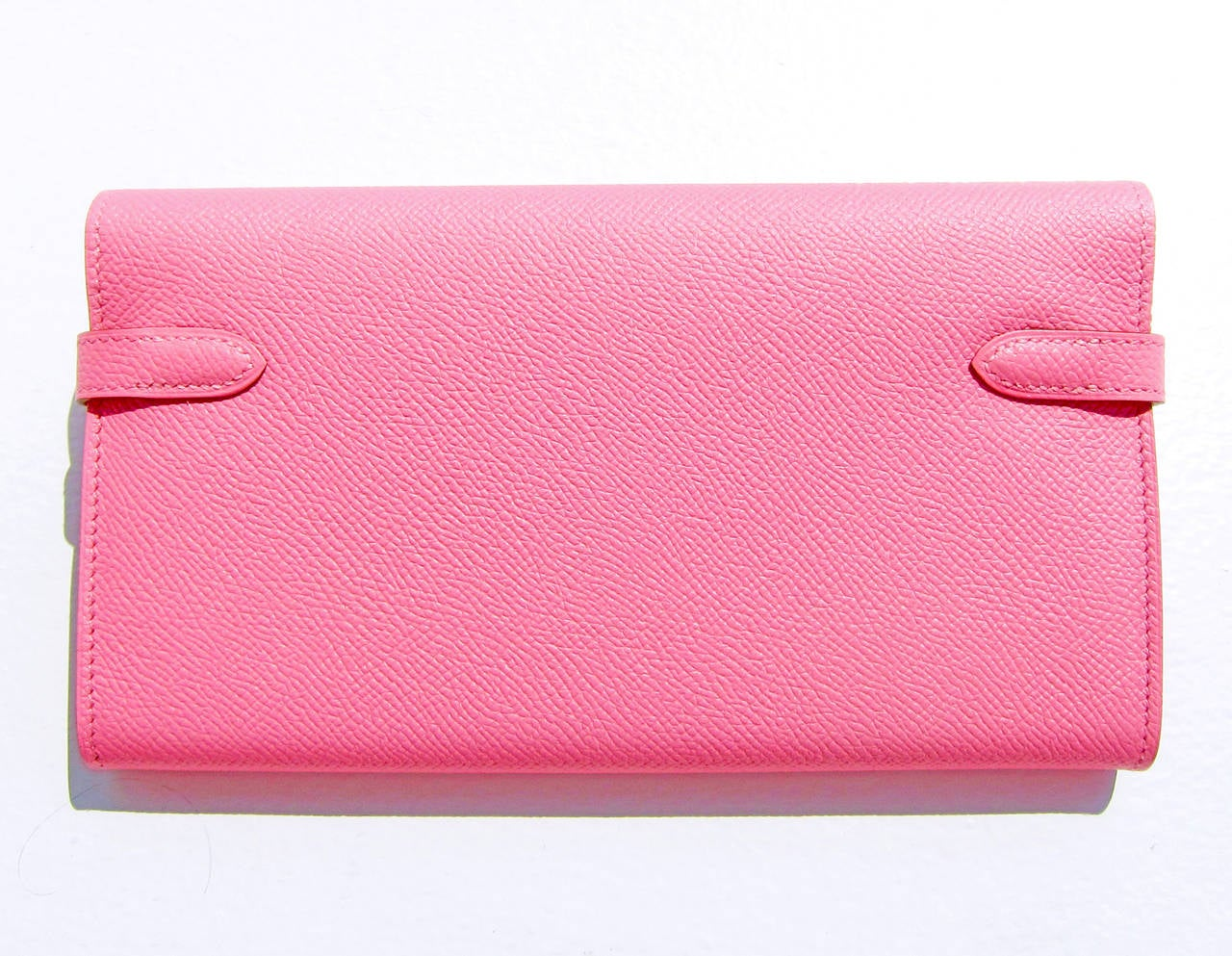Hermes Rose Confetti Epsom Kelly Long Leather Wallet Permabrass Hardware 3