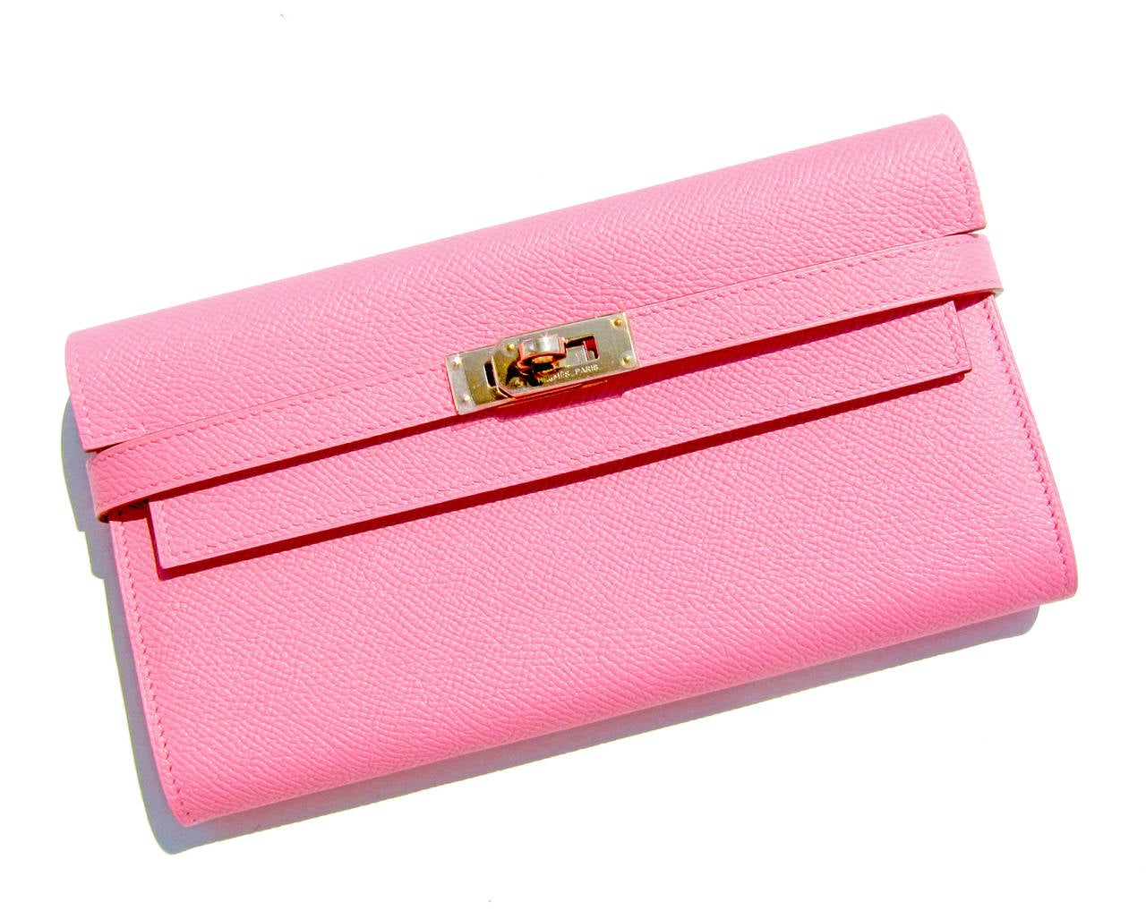 Hermes Rose Confetti Epsom Kelly Long Leather Wallet Permabrass Hardware 2
