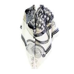 Hermes Brandebourgs Cashmere Silk Shawl GM 140cm White Black Mastic