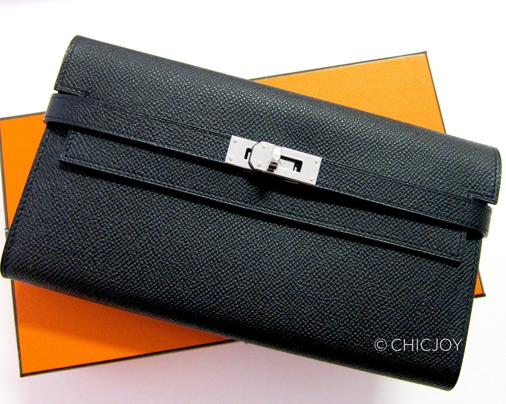 Hermes Black Epsom Kelly Long Leather Wallet Clutch