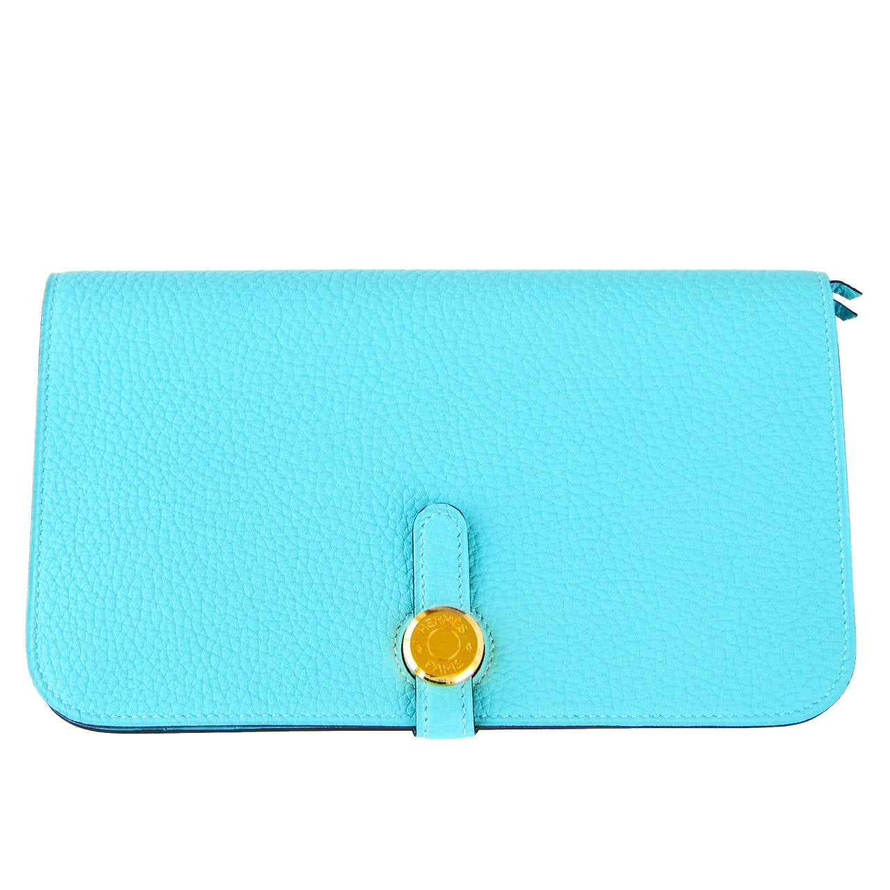Hermes Blue Atoll Gold Hardware Togo Dogon Duo Leather Wallet ...