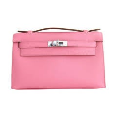 Hermes Rose Confetti Epsom Kelly Pochette Bag Clutch Day Evening