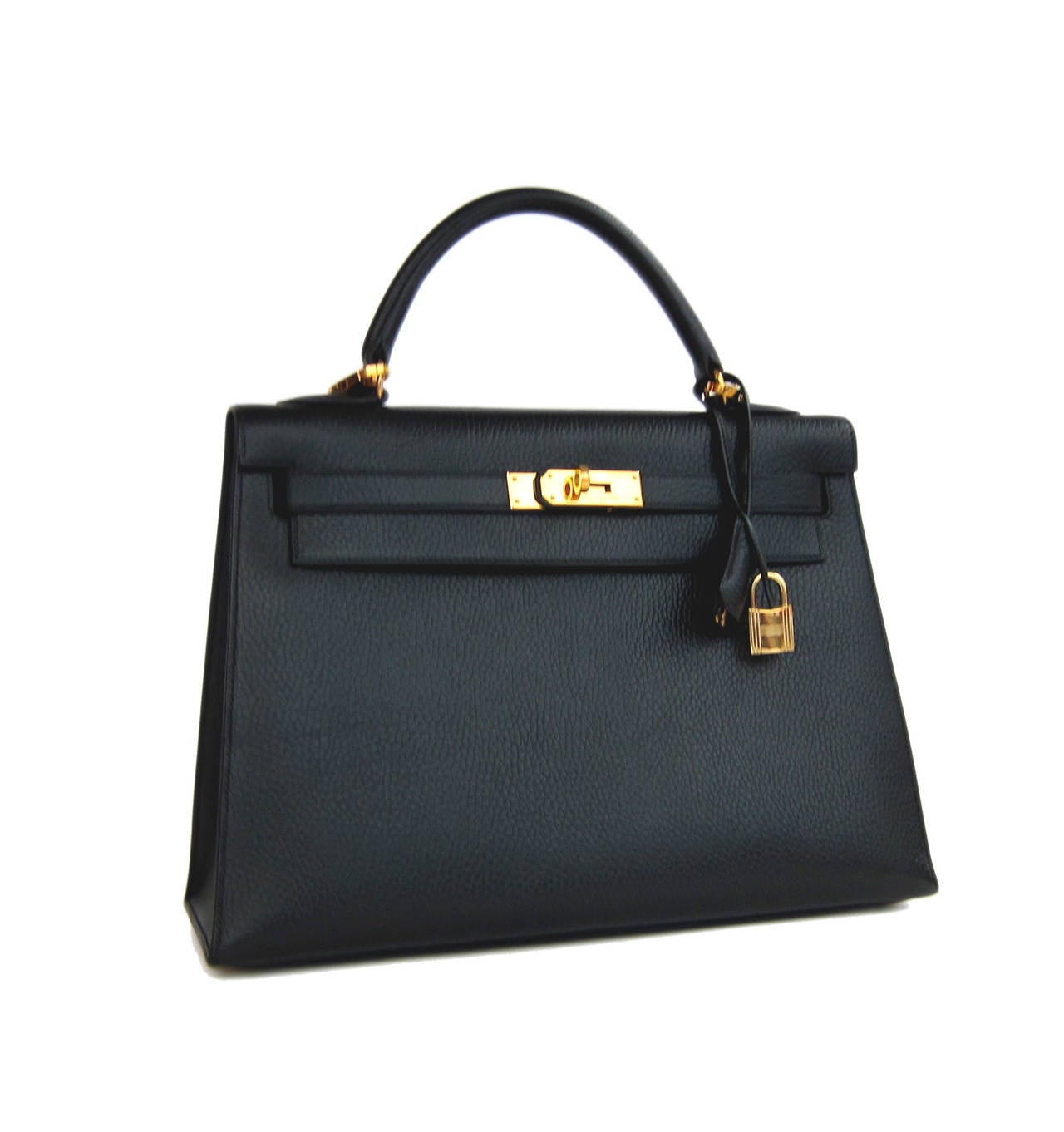 20aca013f563 Hermes 32cm Sellier Black Gold GHW Vache Ardenne Leather Kelly RARE Hermes  32cm Black Sellier Kelly