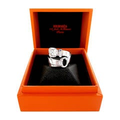 Hermes Debridee Solid Silver Ring GM Size 54 or 6.5 Statement Ring