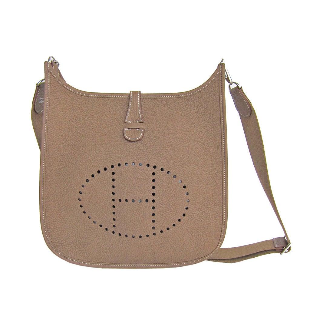 herme birkin - Hermes Etoupe Evelyne PM Messenger Leather Shoulder Handbag at 1stdibs