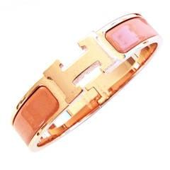 Hermes Salmon Clic H ROSE gold Hardware Enamel Bracelet Romantic