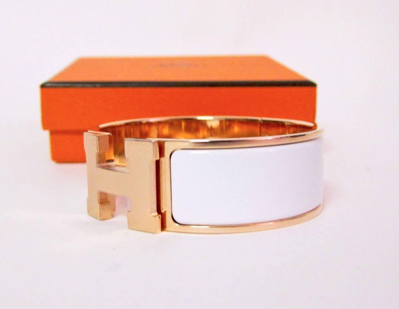 hermes white clic clac enamel bracelet with gold