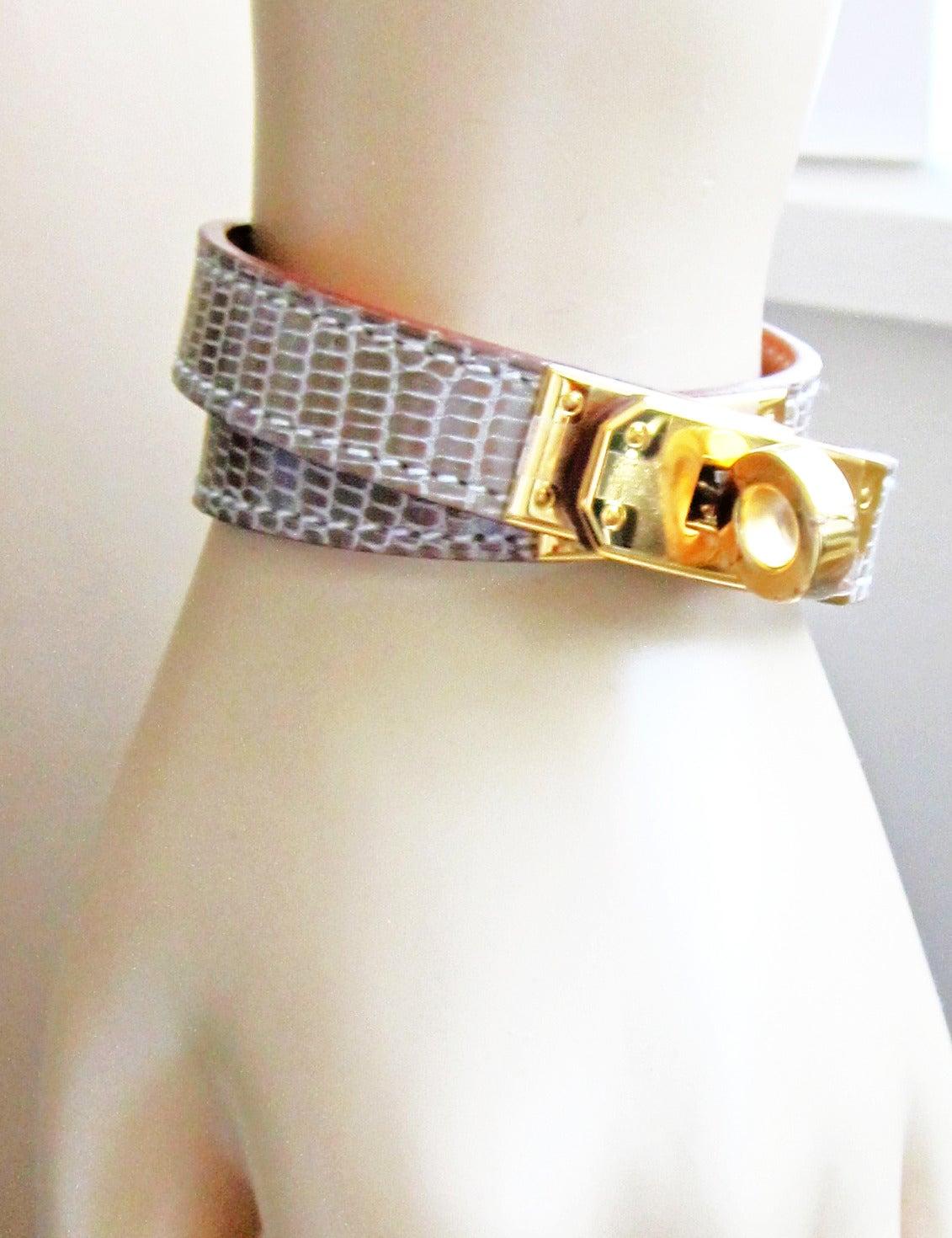 replica hermes kelly bag - Hermes Ficelle Lizard Niloticus Kelly Double Tour Gold Bracelet ...