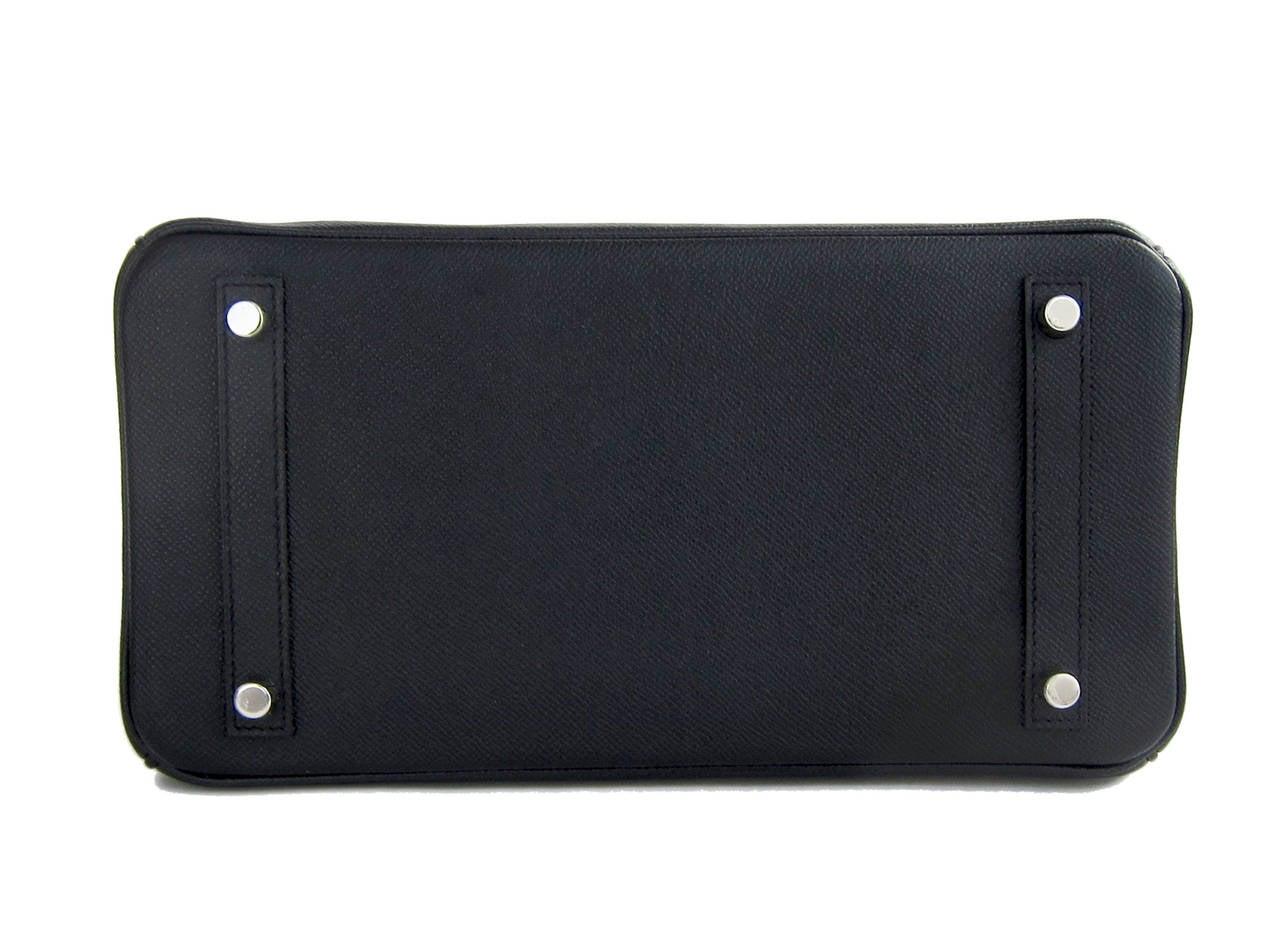Hermes Black Epsom 30cm Birkin Palladium Hardware Architectural For Sale 2