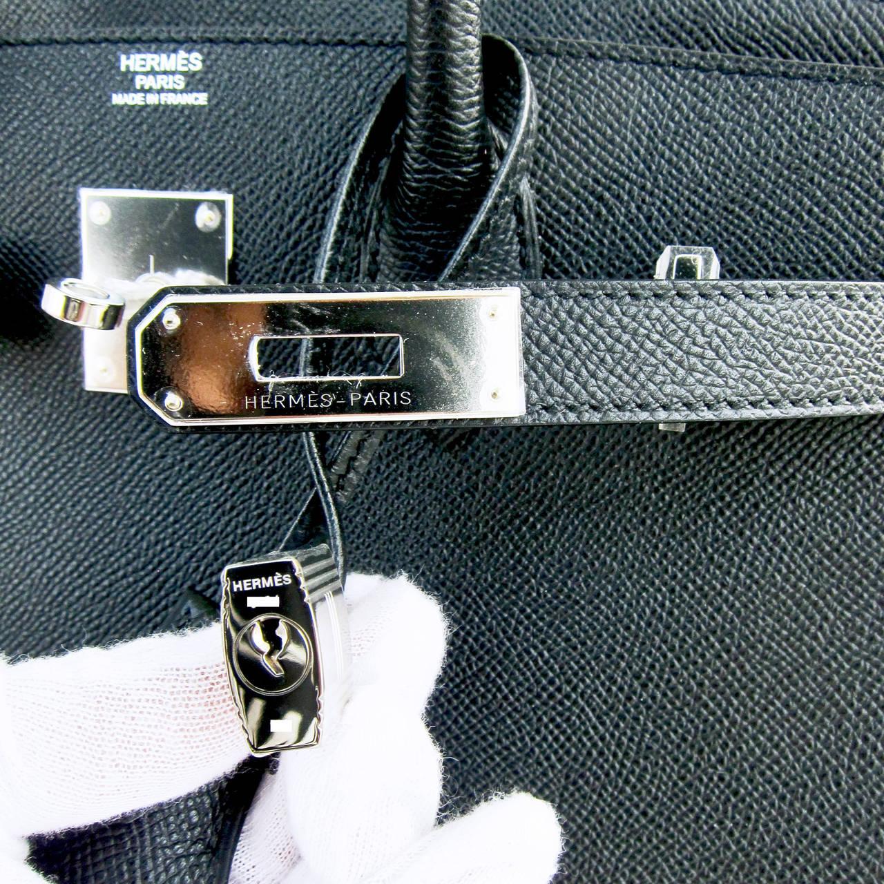 Hermes Black Epsom 30cm Birkin Palladium Hardware Architectural For Sale 3
