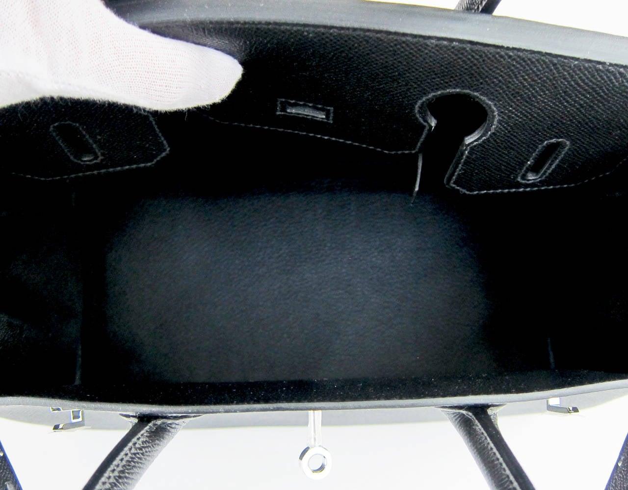 Hermes Black Epsom 30cm Birkin Palladium Hardware Architectural For Sale 4
