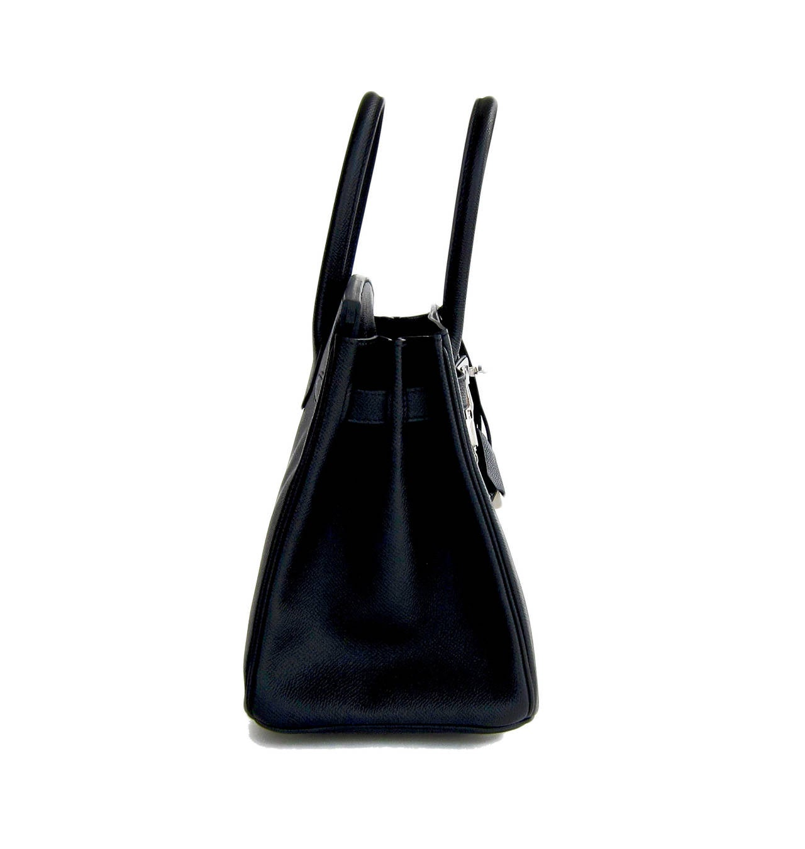 Hermes Black Epsom 30cm Birkin Palladium Hardware Architectural For Sale 1
