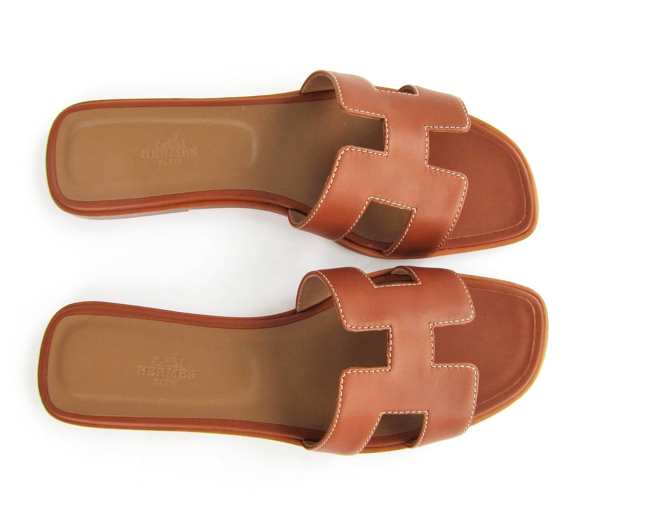 Hermes Gold Oran Box Leather Sandals Size 40 Summer 4