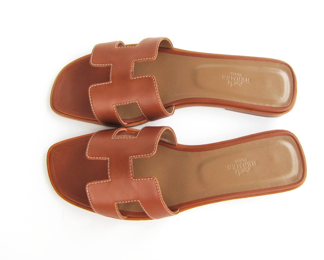 Hermes Gold Oran Box Leather Sandals Size 40 Summer 2