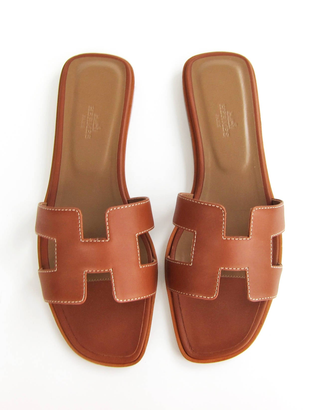 Hermes Gold Oran Box Leather Sandals Size 40 Summer 3