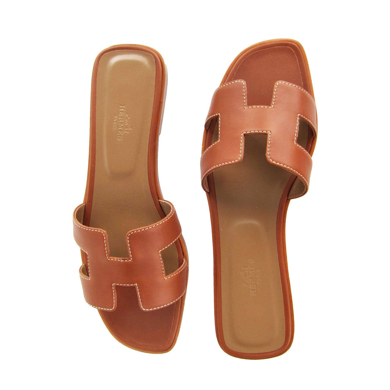 Hermes Gold Oran Box Leather Sandals Size 40 Summer 1