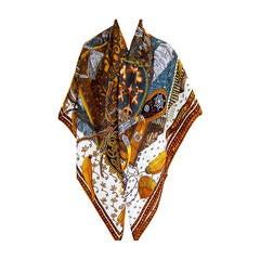 Hermes Cavaliers du Caucase Cashmere Silk Shawl Scarf GM 140cm NEWEST