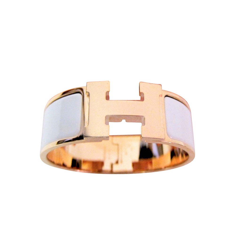hermes white clic clac enamel bracelet with rose gold. Black Bedroom Furniture Sets. Home Design Ideas
