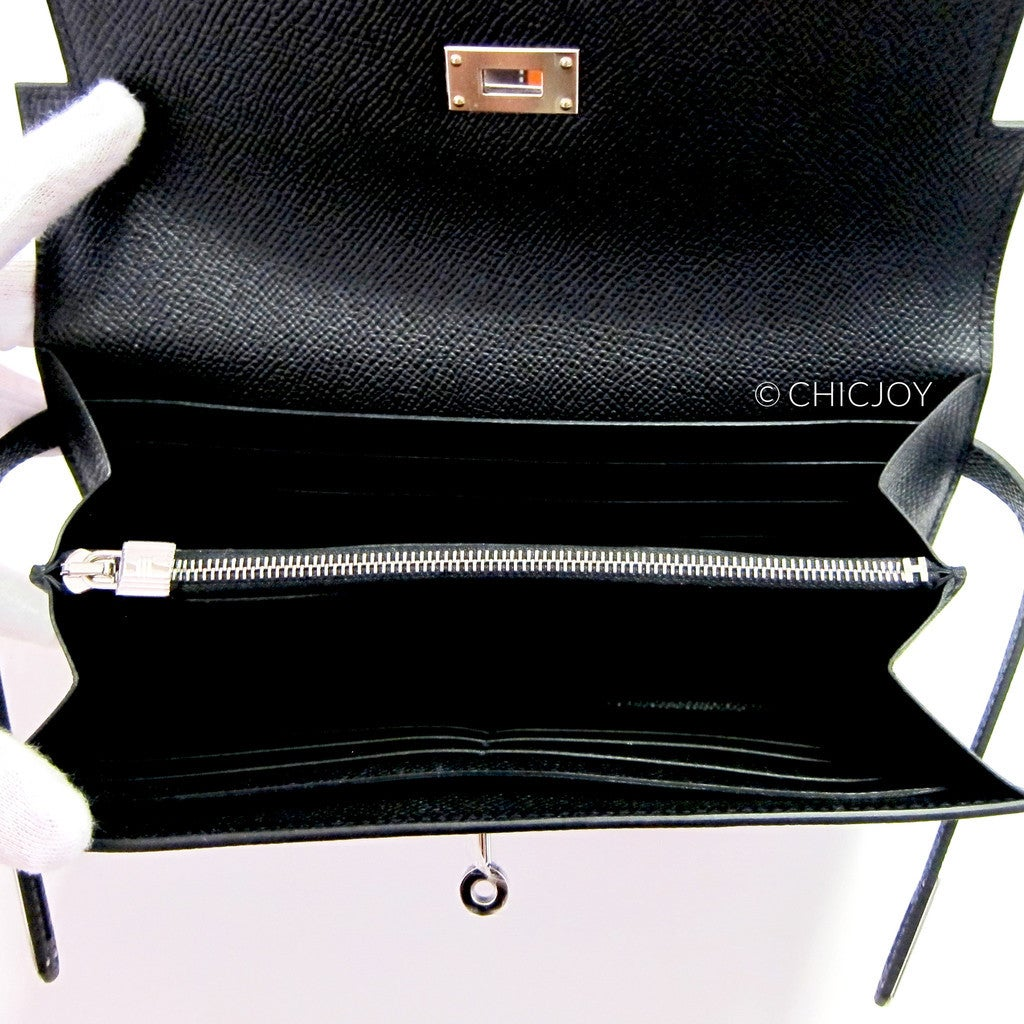 hermes leather - Hermes Black Epsom Kelly Long Wallet PHW Most Requested at 1stdibs
