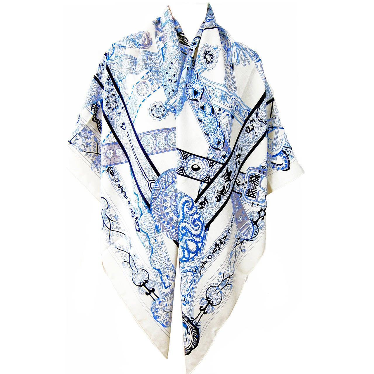 Hermes Le Songe De La Licorne Cashmere Silk Shawl Scarf White Blue Grail 8