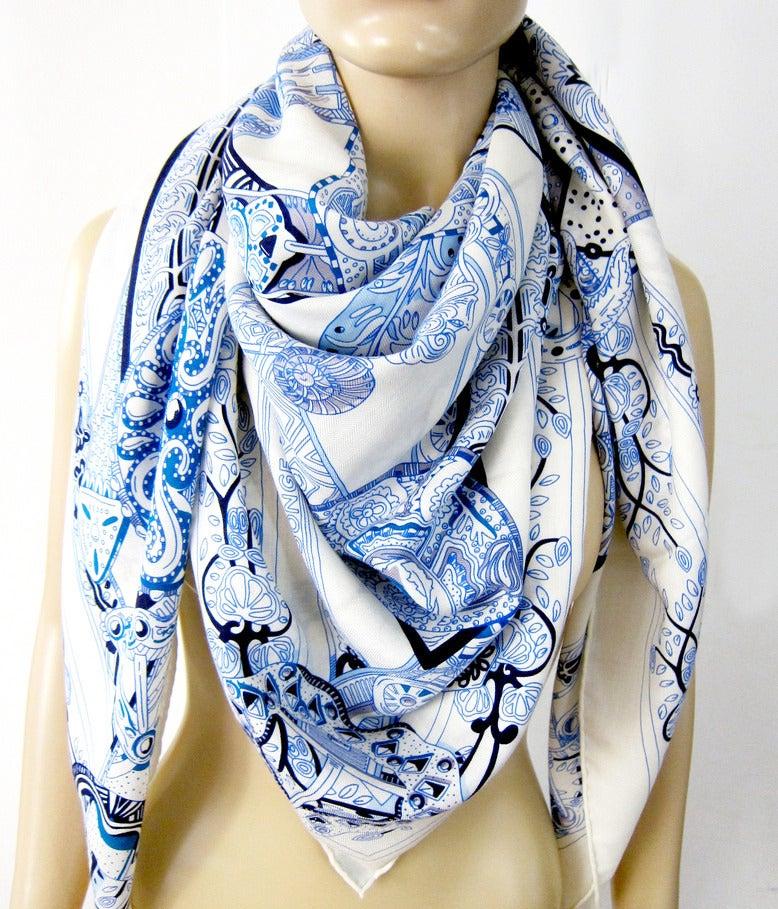 Hermes Le Songe De La Licorne Cashmere Silk Shawl Scarf White Blue Grail 7