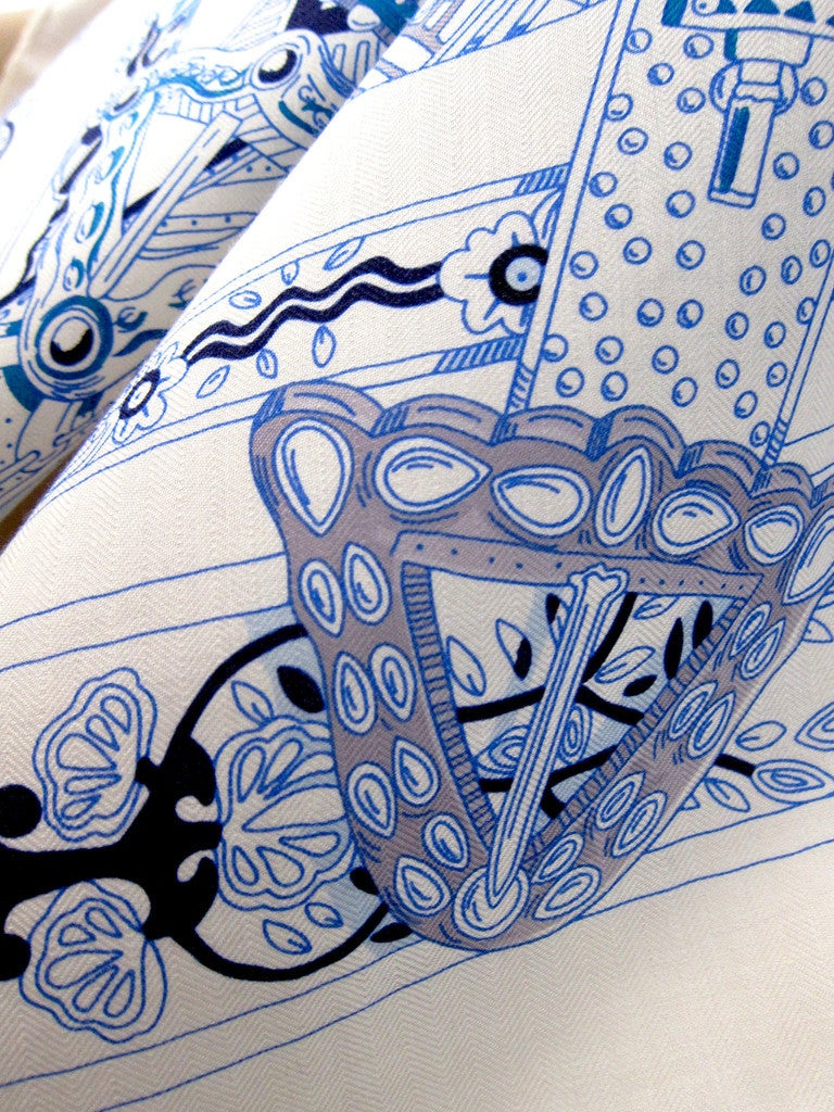 Hermes Le Songe De La Licorne Cashmere Silk Shawl Scarf White Blue Grail 5