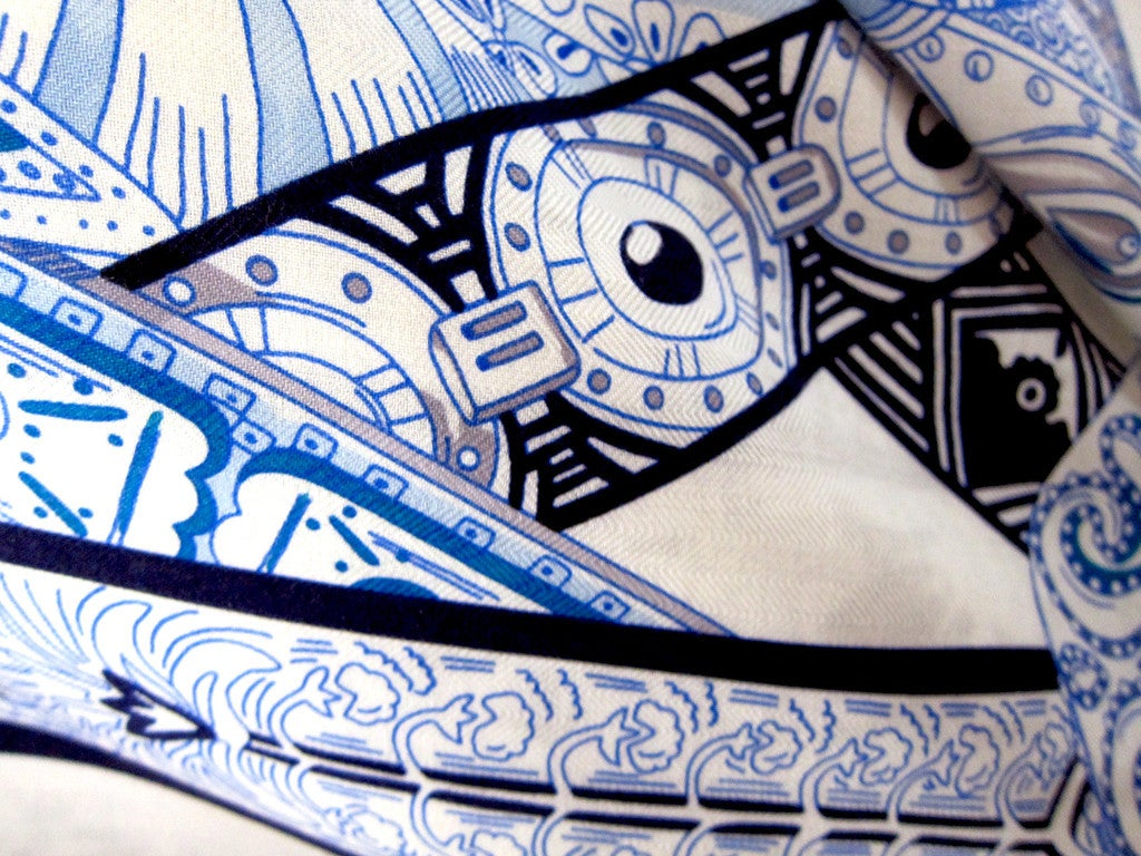 Hermes Le Songe De La Licorne Cashmere Silk Shawl Scarf White Blue Grail 6