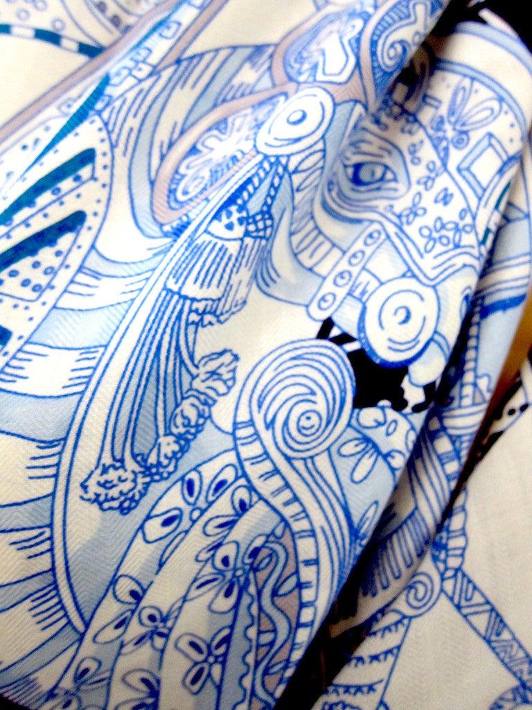 Hermes Le Songe De La Licorne Cashmere Silk Shawl Scarf White Blue Grail 4