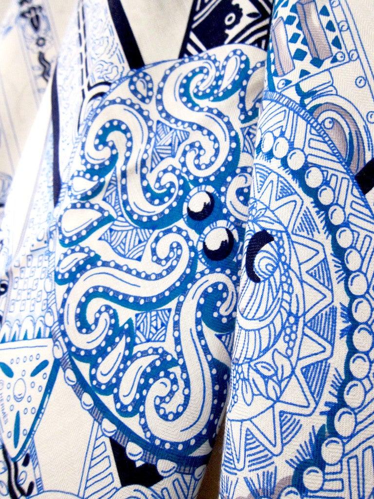 Hermes Le Songe De La Licorne Cashmere Silk Shawl Scarf White Blue Grail 3