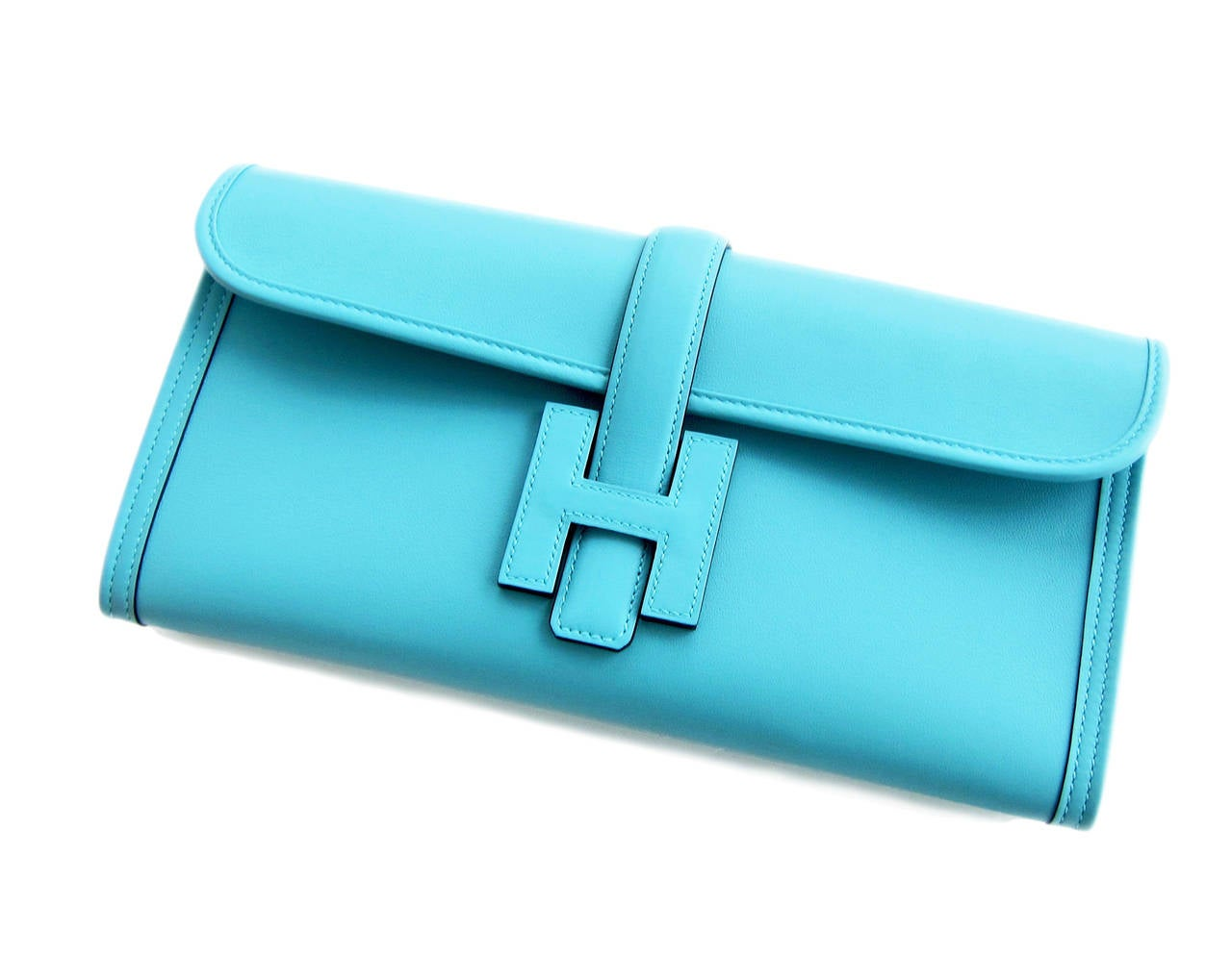 Women's or Men's Hermes Blue Atoll Jige Elan 29cm Swift Clutch Bag Stunning For Sale