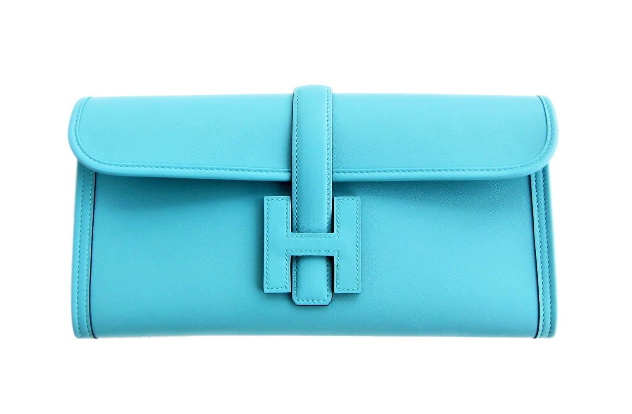 Hermes Blue Atoll Jige Elan 29cm Swift Clutch Bag Stunning 8