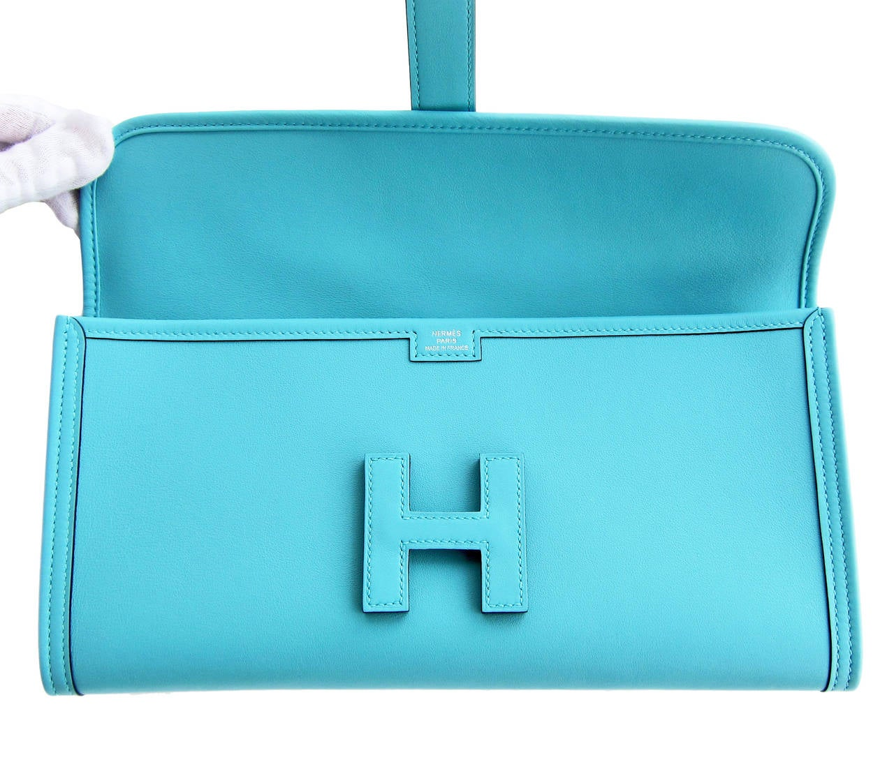 Hermes Blue Atoll Jige Elan 29cm Swift Clutch Bag Stunning For Sale 1