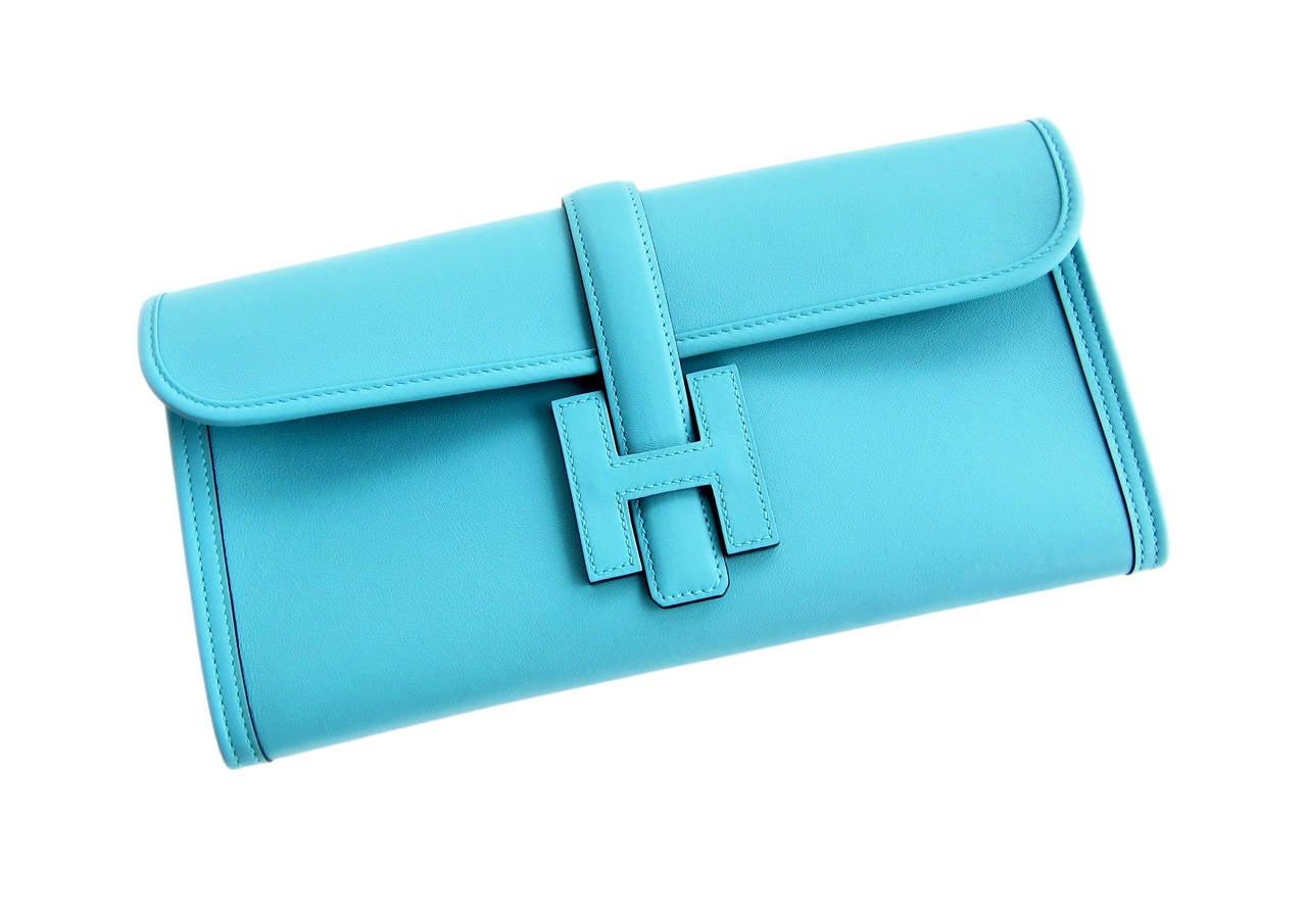 Hermes Blue Atoll Jige Elan 29cm Swift Clutch Bag Stunning 2