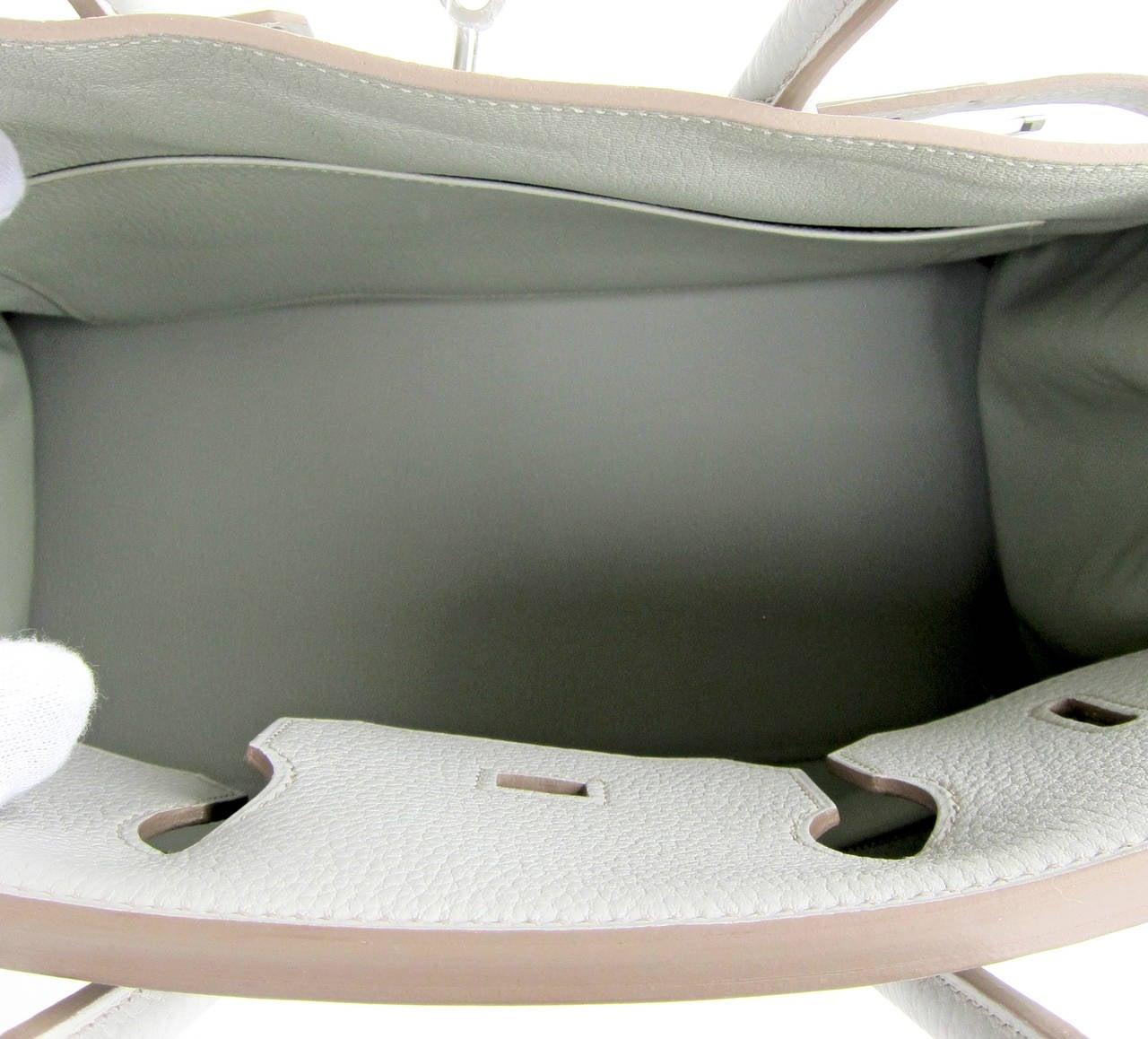 Hermes Gris Perle Fjord 35cm Birkin Bag Palladium Sophisticated 6