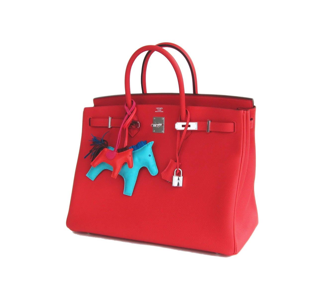 Women's or Men's Hermes Rouge Pivoine 40cm Togo Birkin Bag Palladium Luscious For Sale