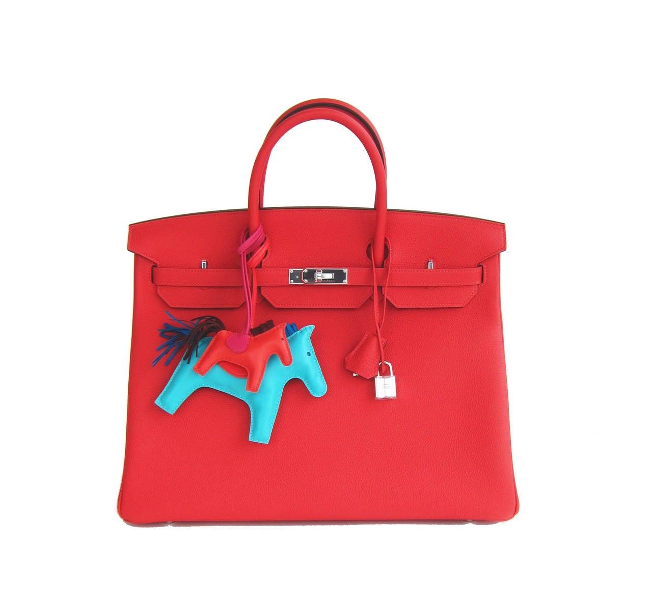 Hermes Rouge Pivoine 40cm Togo Birkin Bag Palladium Luscious For Sale 6