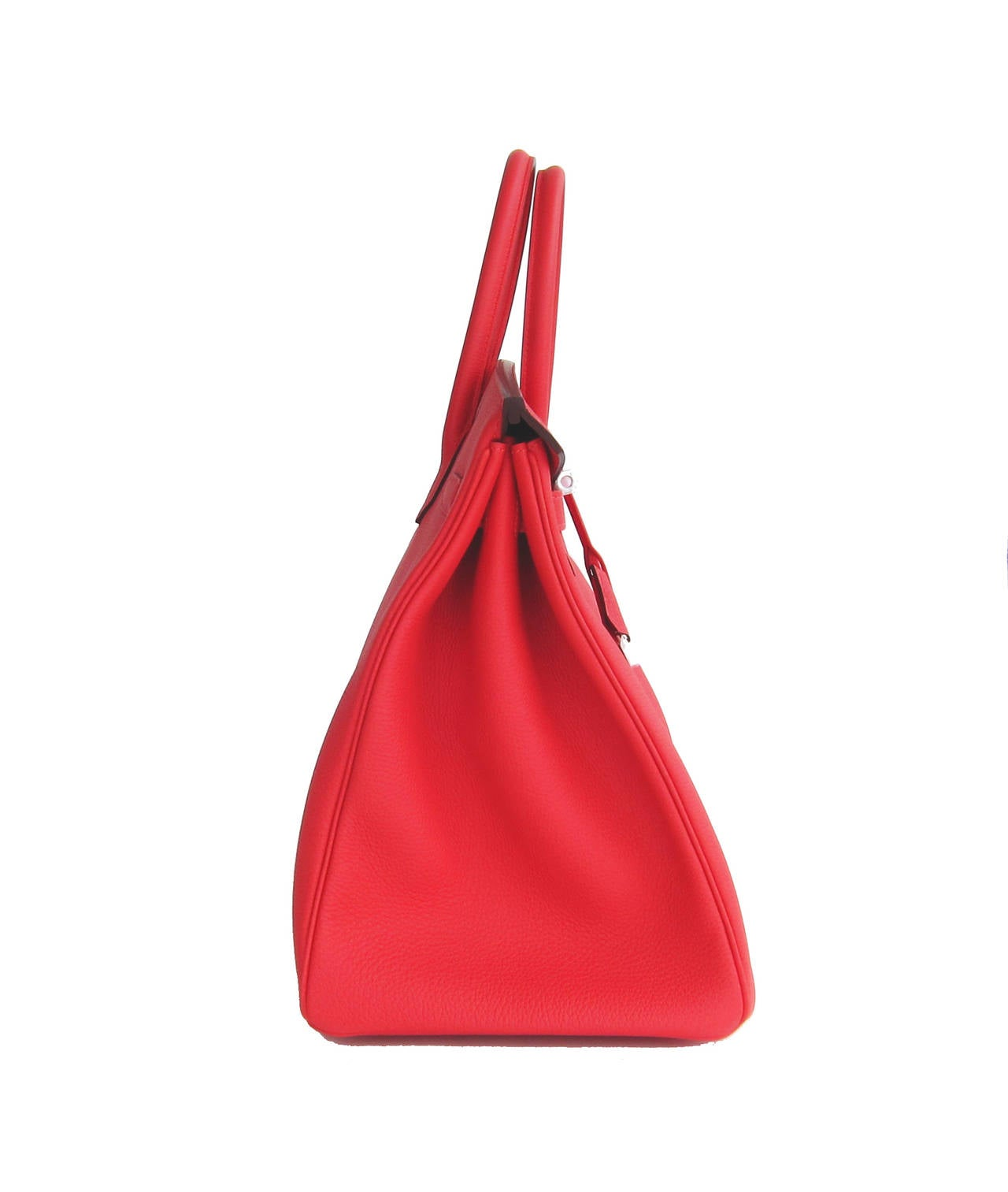 Hermes Rouge Pivoine 40cm Togo Birkin Bag Palladium Luscious For Sale 2