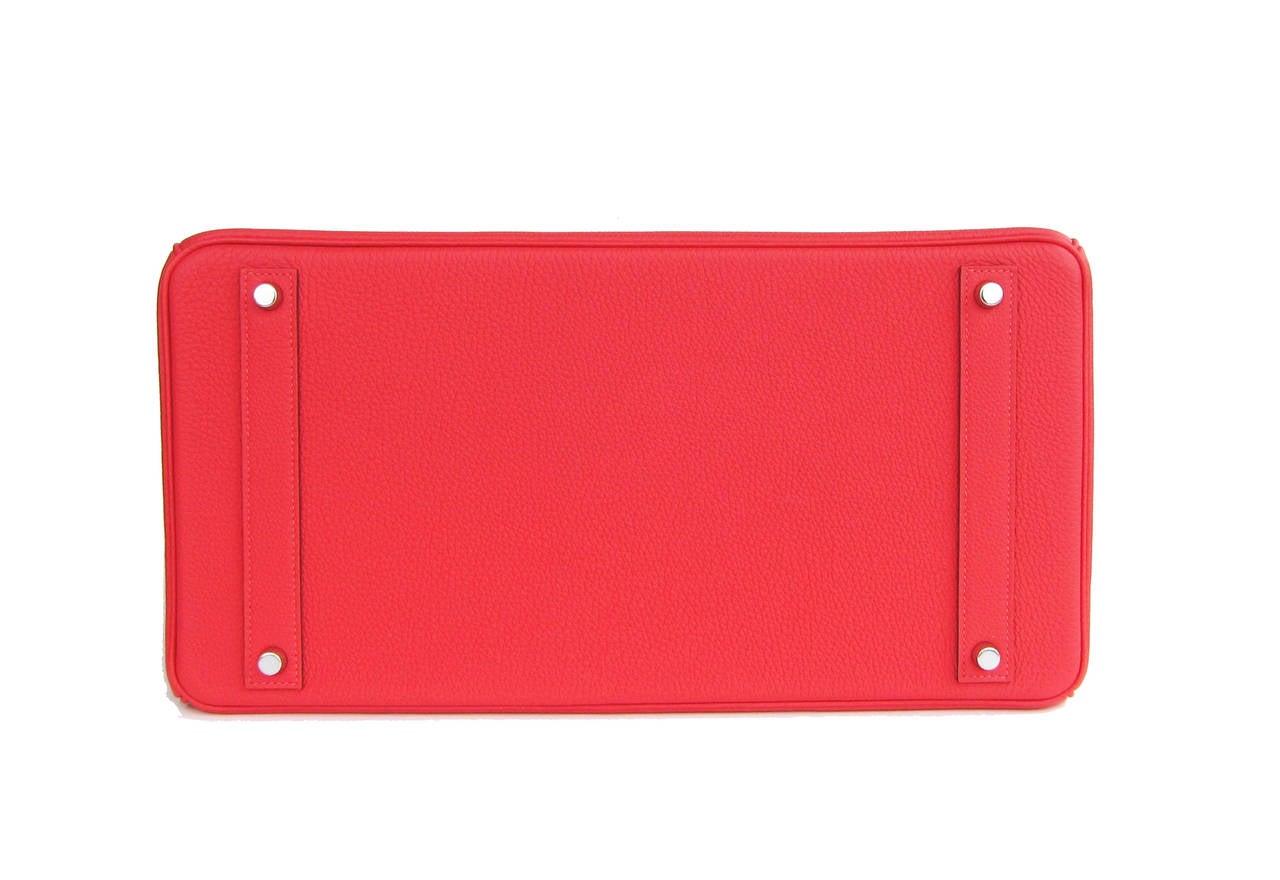 Hermes Rouge Pivoine 40cm Togo Birkin Bag Palladium Luscious For Sale 1